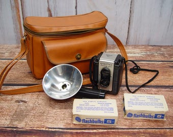 Argus Argoflex Seventy Five Camera, Flash Unit, Flash Bulbs and Camera Bag