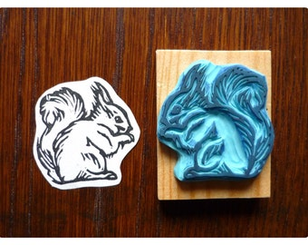 Rubber stamp engraved by hand - squirrel