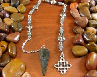 Labradorite Celtic Pendulum - Celtic Pendulum, Celtic, Labradorite Pendulum, Labradorite, Divination, Dowsing, Pagan, Druid, Wicca, Irish