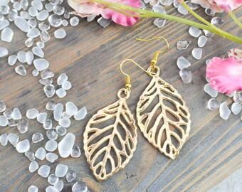Earrings golden ethnic golden leaves filigree - Gold plated earrings gold