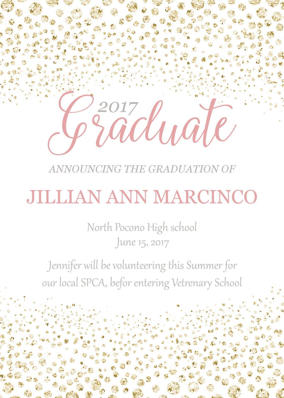 graduation invitations pink and gold graduation invitations class of 2017 senior invitations graduation invite for girls printable grad - Invitations Graduation