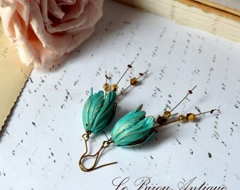 Bell flower earrings in blue and gold verdigris patina dangles with golden crystals vintage long gift for her Valentines day