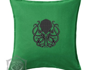 Pillow Cushion cover embroidered Cthulhu R'Lyeh H.P Lovecraft horror deco