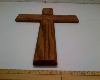 17 Inch Oak Wood Wall Cross Finished  ( Minwax Red Oak No. 215 )