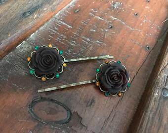 Chocolate Rose Bobby Pin Pair