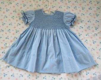 Vintage Toddler Girls Dress Smocked Blue Cotton Size 2T 3T 1950s