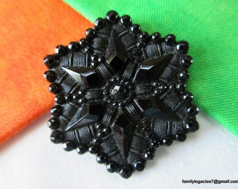 """0193 – Beautiful 1800's 6-Point Star Scalloped Border XL Black Glass Antique Button, 1-1/2"""""""