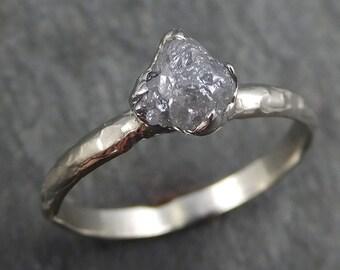 Raw Rough Uncut Diamond Engagement Ring Rough Diamond Solitaire 14k white gold Conflict Free Diamond Wedding Promise byAngeline 0362