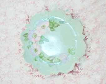 Vintage Hand Painted Flower Plate Pink Flowers Scalloped Edge