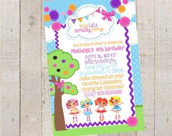 Lalaloopsy Birthday Invitations-  Birthday- Birthday Invitations- Printable-Customize Birthday Invitations-Ragdolls