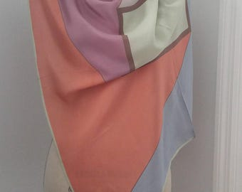 Vintage VERA Prima Collection All Silk Scarf 31x30 Soft Pink Purple Blue RETRO Design