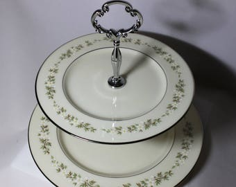 Lenox  Brookdale Tiered Stand,  Vintage Plates, Tiered Cake Plate, Cupcake Stand, Jewelry  Stand, Wedding Table, Bridal Party