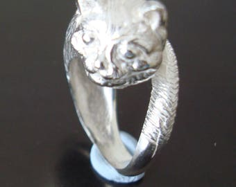 Solid 925 Sterling Silver Cat Ring