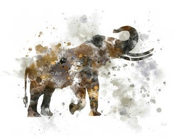 African elephant ART PRINT Illustration, Animal, Wildlife, Wall Art, Home Decor