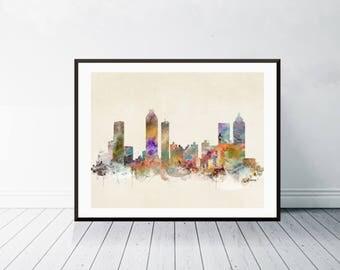 atlanta georgia skyline .atlanta city skyline. atlanta cityscape. colorful watercolor skyline.Giclee art print.color your world with bri.