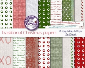 Traditional Christmas papers, Holiday Scrapbook Papers, Christmas Digital Paper, Christmas digital papers, Red Green holiday papers