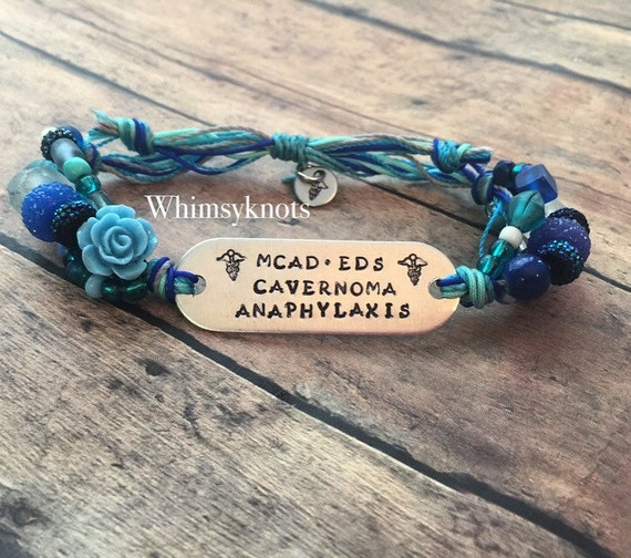 ID bracelet. Medical jewelry, medical bracelet Personalized, Hand-Stamped Jewelry