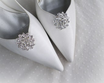 Round sparkly rhinestones brooch wedding bridal party shoe clips