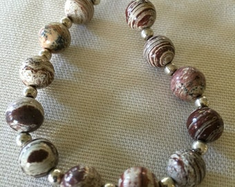 Stone bead bracelet- browns and white