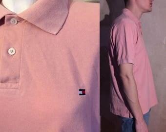 HILFIGER polo pink vtg shirt size M