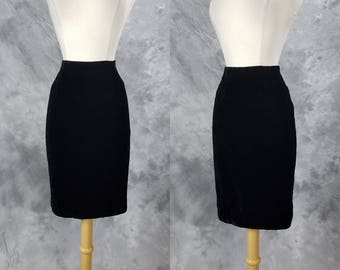 1980s black velvet skirt, high waist, rayon velvet, Farinae Collections, small