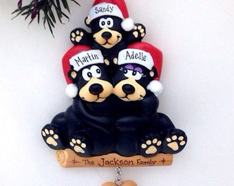 FREE SHIPPING 3 Black Bears Family Ornament / Personalized Christmas Ornament / Family of Three Bears / Christmas Ornament