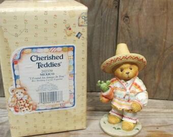 """Cherished Teddies Figurine Carlos I Found An Amigo In You 4"""" Tall 1996 Enesco"""