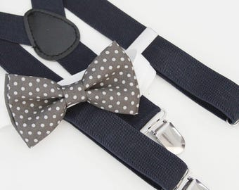 Dark gray and white polka dots bow-tie & Navy elastic suspender set -  Groomsmen bow tie and Suspenders - Ring bearer bow tie and suspenders