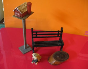 Reserve for Karen--Dollhouse miniatures, accessories, bench, birdhouse, dog, cat, log stump, Exterior, porch decor (Country Minis 1)