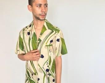 1960s barkcloth aloha shirt