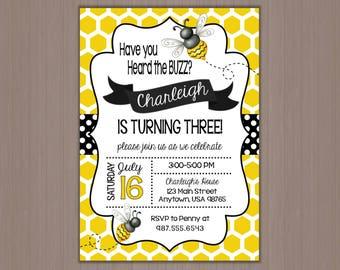 Bumble Bee Invitation, Bee Invitation, Birthday Party Invitation, Polka Dots, Yellow, Black, Honey Comb, Buzz, 1st, First, Printed, Girls