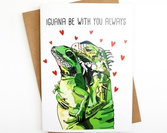 Funny Card | Love Card | Couples Card | Valentines Day Card | Humorous Card | Handmade Card | Animal Card | Pun | Iguana | Anniversary Card