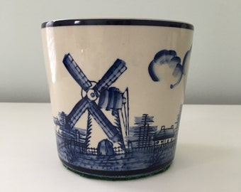 Delft Blue Planter with Dutch Scenery Windmill Ceramic Pottery Cottage Farmhouse Decor