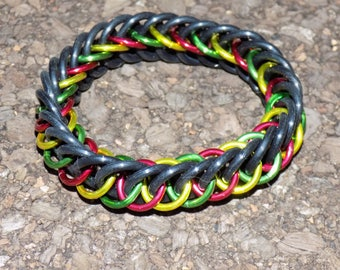 Rasta Colored Half Persian 4 in 1 Chainmaille Bracelet
