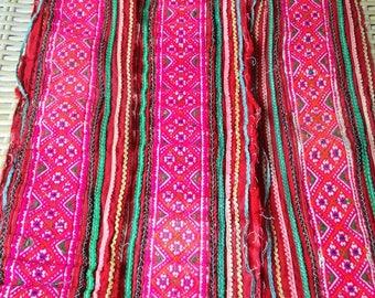 Ethnic Cross Stitch Handmade Pink Vintage Hmong Hill tribe quality Trim Craft supplies