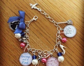 Cinderella Quote Charm Bracelet  - Handmade, Unique