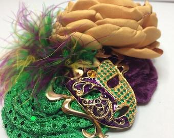 Mardi Gras Fascinator-mardi gras flowers-mardi gras clip-mardi gras hair accessory-mardi gras accessory-mardi gras hair bow-vintage mardi gr