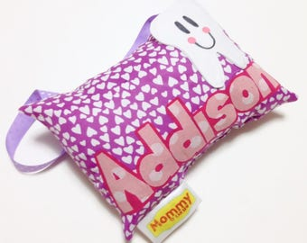 Tooth Fairy Pillow, Decorative Pillow. Purple Hearts & Pink. Personalized Gift.