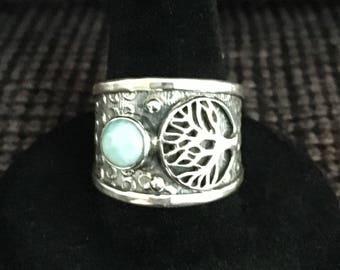 925 silver, Larimar, tree of life ring