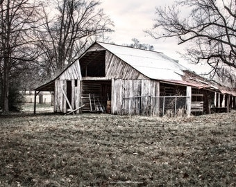 Barn Photograph, Weathered Barn Fine Art Print or Canvas Wrap, Farmhouse Style Wall Decor, Country Barn Scene