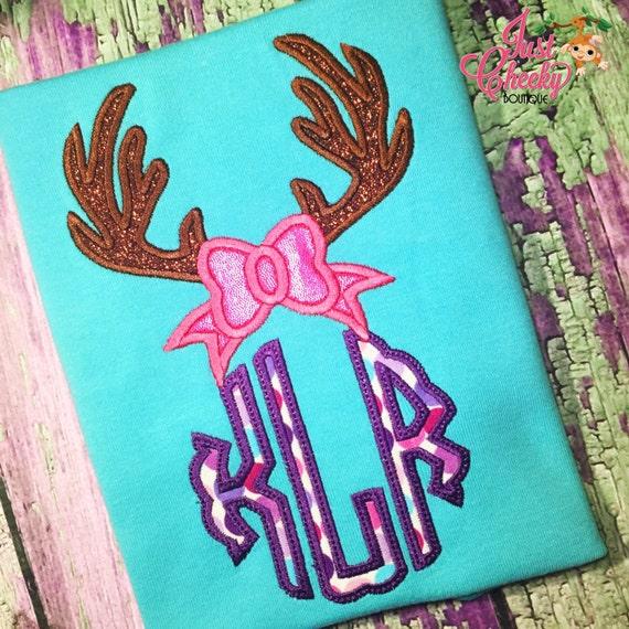Bow Antlers Monogram Embroidered Shirt - Daddy's Little Dear - Deer Season Shirt - Deer Hunting - White-Tail Deer