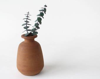 Small Vintage Terra Cotta Ceramic Vase Made in Philippines