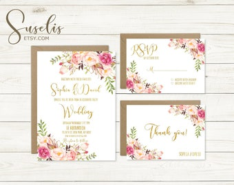 Wedding Invitation Suite Rsvp Thank you Gold Text Romantic Watercolor flowers Peach Boho Wedding Invitation Suite DIY DIGITAL FILES, WS10