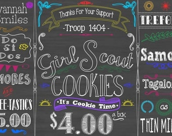 girl scout cookie booth - printable - chalkboard- cookies- thin mints - girl scouts - daisies - brownies - little brownie bakers - abc baker