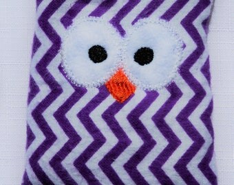 Ouchie Owl ~ Hot or Cold ~ Rice Pack - Purple and White - Chevron