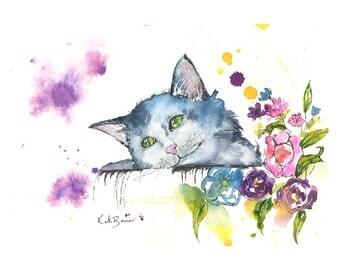 Cat - Print of watercolor painting - cat watercolor