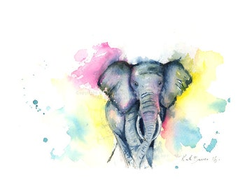 Memory of an Elephant - Print of watercolor painting - Elephant watercolor