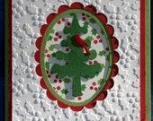 Cardinal in a Pine Tree Christmas Card