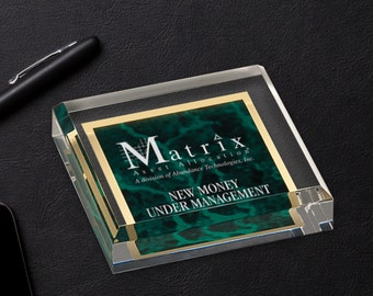 Personalized Acrylic Paper Weight with Green Marble Finish, Corporate Office Gifts, Promotion Gifts