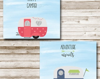 Adventure Awaits - Happy Camper Printable Wall Art Set 5x7 8x10 Vintage RV Retro Camper Print Set Photography Prop
